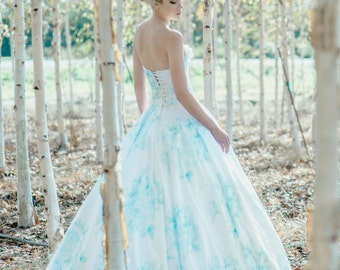 Floral Wedding Dress Watercolor Romantic, BONAPARTE, Silk Cotton Blue Pink Blush
