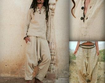 Natural Raw cotton Harem Pants (Unisex) + Short Kurta ~ raw cotton >>~•》Outfit (OS2)