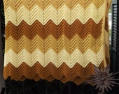 Crochet Afghan Throw, Vintage Full Bed Blanket, Handmade Mod Chevron Yellow Gold Copper Afghan, Neutral Brown Afghan, 60 x 84