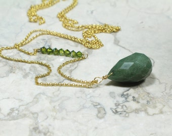 Long Pendant Necklace with a Genuine Faceted Olive Jade Stone Pendant and Swarovski Crystals
