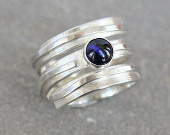 Silver Spiral Wrap Ring with Blue Sapphire Gemstone Accent