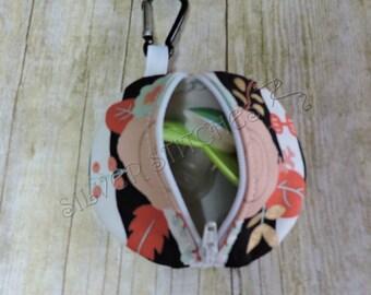 Pacifier Pod, Black,White Stripes & Flowers,Paci Pod,Earbud Case,Diaper Bag Accessory,Fabric Pacifier Case,Binky Case,Nuk Case,Zipper Bag