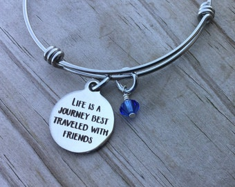 "Friendship Quote Charm Bracelet- ""life is a journey best traveled with friends"" laser etched charm with accent bead of you choice"