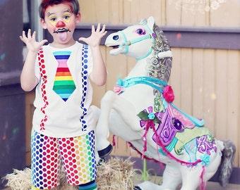 Boys Clown Carnival Shirt- Clown Birthday -Baby Boys-Circus 1st Birthday- Circus Costume-Tie and suspenders- SZ 0-5t