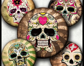 INSTANT DOWNLOAD Vintage Sugar Skull (783) 4x6 1 inch round Bottle Cap Images Printable Steampunk Digital Collage Sheet glass cabochon image