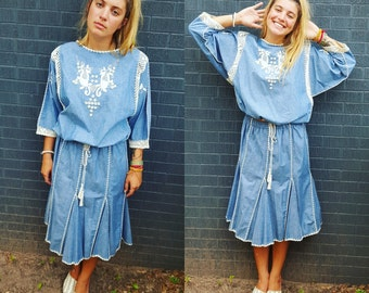 blue chambray bohemian suit set hippie hipster boho textile dress festival dress gypsy cool textile embroidery crochet thats darling
