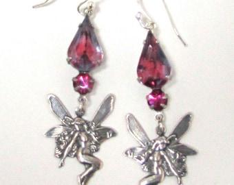 Summer Fairy Earrings. Vintage Fuchsia Set Crystal Teardrop with Silver Drop Earrings.  Fabulous!