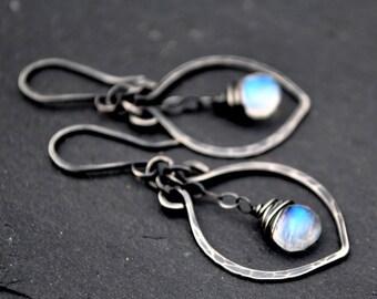 Oxidized Silver Moonstone Earrings, AAA Rainbow Moonstone Leaf Dangle Earrings, Petite Leaf Earrings