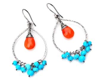 Boho Turquoise Earrings, Bright Orange Carnelian & Genuine Turquoise Cluster Earrings, Hammered Oxidized Silver Teardrop Hoops