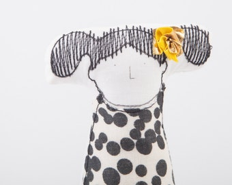 Soft sculpture, family dolls , little girl doll with pigtails wearing black & white retro polka-dot dress  -Timohandmade eco  Miniature doll