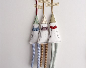 Christmas Tree Ornament set of 3 - Rustic Christmas Decor Primitive Christmas Decorations white Christmas ornaments Christmas stockings