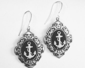 Anchor Cameo  Earrings
