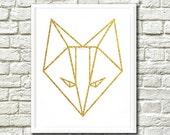 Gold Fox Print, Origami Fox Print, Art Printable, Geometric Wall Art, Wall Printable, Geometric Fox Art, Geometric Fox Print, Gold Fox Art