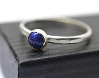 Lapis Lazuli Ring, Personalized Engravable Handmade Silver Stacking Band, Natural Blue Gemstone Jewelry