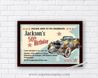 Birthday Invitation OR Baby shower  vintage car, 1st 2nd 3rd 30th 40th 50th 60th 70th 80th 90th Retro birthday party invite - card 212