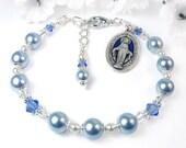 Miraculous Medal Chaplet Bracelet, Blue White Swarovski Pearls Crystals, Adjustable, Handmade