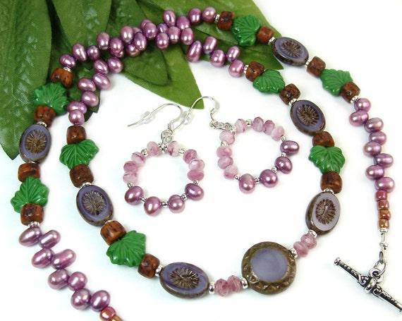 Boho Wrap Bracelet Necklace, Beaded Wrap Bracelet, Freshwater Pearl Hoop Earrings, Purple Czech Glass Leaf Motif Nature Inspired Jewelry Set
