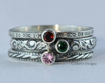 Customized For You:  3mm Gemstone Stacking Ring, Family & Mother's Rings, Sterling Silver stackable, birthstone, emerald, topaz, Custom made