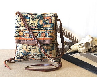 Vintage 1970s Tapestry & Leather Purse | Braided Leather w/Tassels | Boho Hippie Carpet Ipod Bag