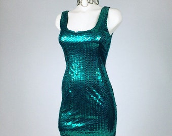90s Vintage Mermaid Turqoise Green Sequin Glitter Designer Party Dress // M