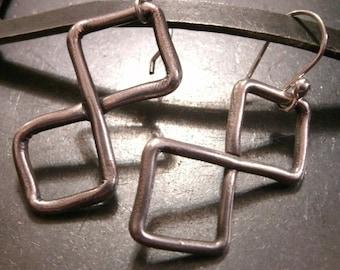 Figure 8 Earrings- Infinity Jewelry- Fine Silver Dangle Earrings- Avant Garde Jewelry- PMC Fine Silver Earrings- Abstract Jewelry- Modern