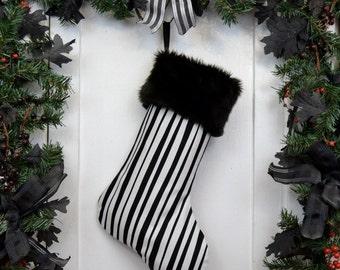 Goth Punk Black & White Pirate Stripe Christmas Stocking