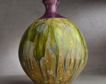 Bottle Vase Ready To Ship Green Brown Purple Vase by Symmetrical Pottery