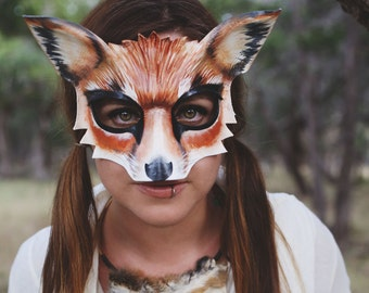 Fox Leather Mask - Adult or Kids Sizes - What does the fox say -Halloween Mask - Fox Costume - Fox Mask - Women Costume - Child - Animal