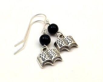 Book earrings / Harry Potter earrings / Library earrings / Sterling silver ear wires / Black jasper stone beads