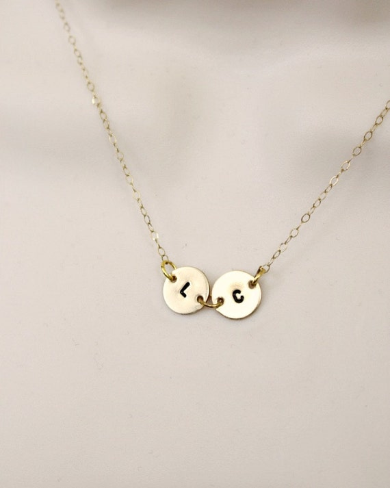 2 initial necklace disc necklace personalized by snobishdesign