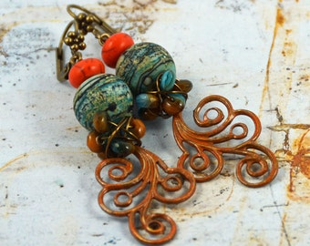 Earthy Rustic Boho Turquoise Orange Blue Earrings Artisan Patina Dangle Earrings