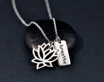 Lotus Breathe Necklace Sterling Silver | Lotus Flower Jewelry | Yoga Necklace | Yoga Jewelry | Breathe Necklace | Breathe Jewelry