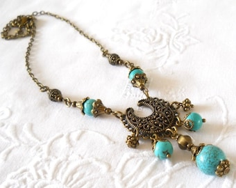 turquoise necklace turquoise pendant necklace chalky turquoise necklace stone necklace turquoise and bronze