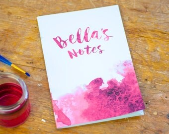 Personalised Watercolour Notebook | A5 Handmade Journal | Custom Notepad | Notes | Pink | Gift | For Her