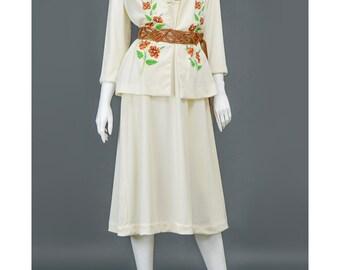 SALE 70s Mod Dress & Jacket Set Outfit Vera Neumann Style Orange Floral Print Cream Boho Dress 1970s Dress Hippie Wedding Suit S/M