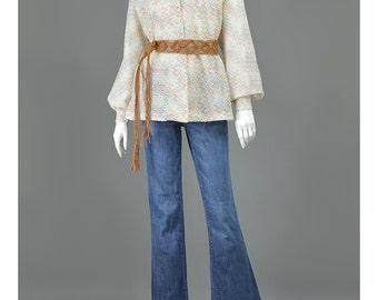 SALE - Bohemian Blouse 70s Shirt Chevron Striped Zig Zag Pointelle Knit Psychedelic Shirt Mod Top Boho Hippie Blouse 1970s Blouse