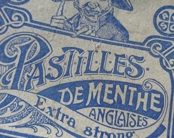 Superb antique French timeworn advertising bonbon box Pastilles de Menthe Anglaises c1900 attic find - Belle Brocante