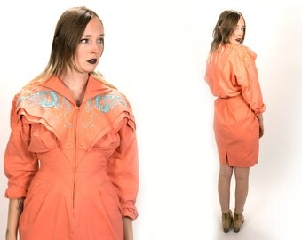 Vintage 1980's Coral Pink Bedazzled Dress with Shoulder Pads Zip Up Front Material Girl Hipster Cotton Knee Length Dress Country Women's 12