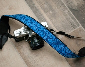 Blue Camera Strap - Padded Camera Strap - Nikon Strap - Sony Camera Neck Strap - dslr Camera Strap - Blue Stag - READY TO SHIP