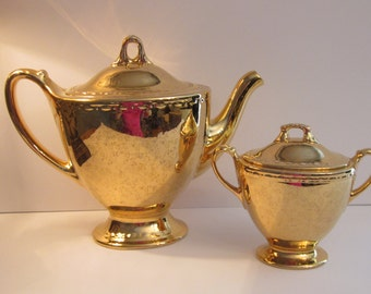Homer Laughlin Georgian Eggshell - 22 KT Gold Luster Coffee Pot and Double Handled Sugar Bowl