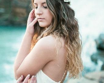 Beach wedding accessories, bridal headpiece, wedding flower crown, ivory Flower crown, rustic head wreath, wedding headband, destination