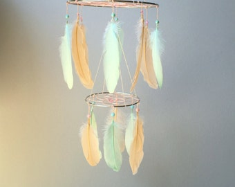 Feather Mobile, Baby Mobile, Dream Catcher Mobile, Peach and Mint Feather Mobile, Boho Mobile, Boho Nursery Mobile