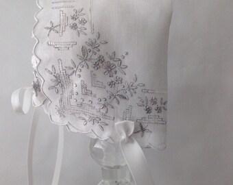 Handkerchief Baby Bonnet,  Hanky Bonnet, Handmade, Pure Irish Linen, Heirloom Baby Bonnet, size up to 4 months, Keepsake, Ready  to Ship