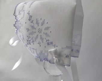 Handkerchief Bonnet, Newborn - 3 months Hanky Bonnet, Irish Linen, Handmade Heirloom Baby Bonnet, Snowflake, Blue embroidery, Ready  to Ship