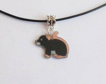 Fancy Rat Necklace Black Pet Rat Mouse Pendant