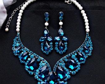 Blue wedding jewelry set, blue wedding necklace, blue earrings, cobalt blue rhinestone earrings, blue statement necklace, bridal jewelry set