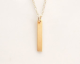 Vertical Bar Necklace in Gold