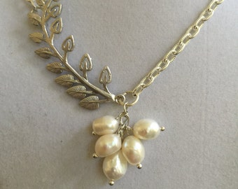 Bridal Silver Leaf Branch and Pearl Necklace