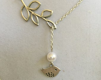 Silver Leaf, Silver Bird and Freshwater Pearl Necklace