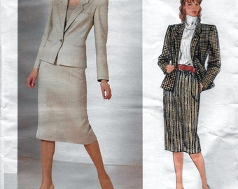 Vogue American Designer 1190 Bill Haire Misses' Jacket & Skirt Suit Sewing Pattern Size 12 Bust 34